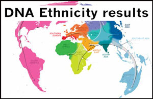DNA ethnicity results. Click to view.